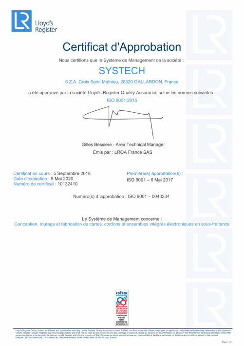 certificiation Systech